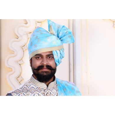 S H A H I T A J Traditional Rajasthani Wedding Barati Chanderi Silk Printed Sky Blue Foil Jodhpuri Pagdi Safa or Turban for Kids and Adults (CT668)-ST794_20andHalf