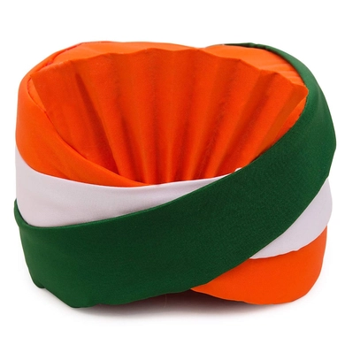 S H A H I T A J Traditional Rajasthani Satin Tricolor or Tiranga Pagdi Safa or Turban for Kids and Adults (RT672)-ST7_18andHalf