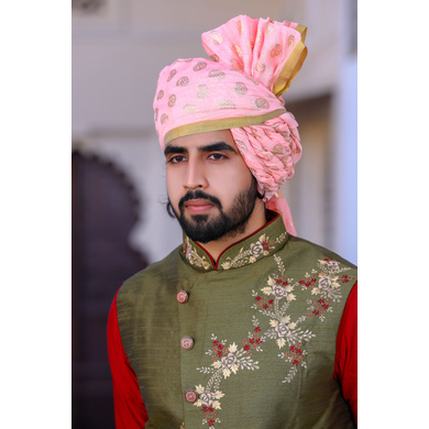 S H A H I T A J Traditional Rajasthani Wedding Barati Chanderi Silk Printed Baby Pink Foil Udaipuri & Rajputi Pagdi Safa or Turban for Kids and Adults (CT228)-ST308_18