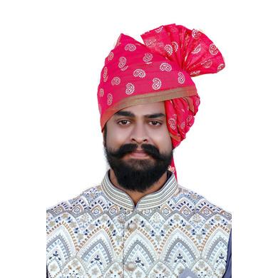 S H A H I T A J Traditional Rajasthani Wedding Barati Chanderi Silk Printed Rani or Magenta Foil Udaipuri Pagdi Safa or Turban for Kids and Adults (CT232)-ST312_18