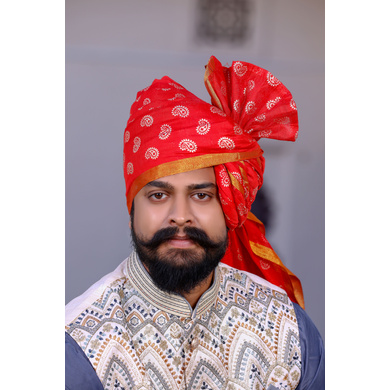 S H A H I T A J Traditional Rajasthani Wedding Barati Chanderi Silk Printed Red Udaipuri Pagdi Safa or Turban for Kids and Adults (CT229)-ST309_18