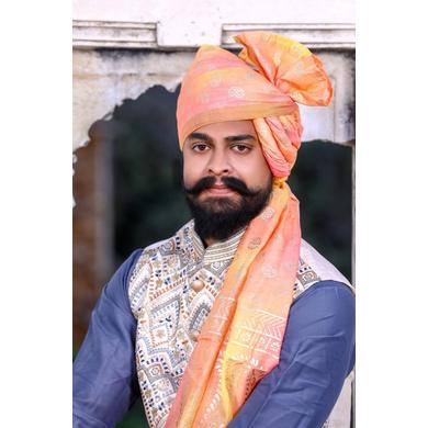 S H A H I T A J Traditional Rajasthani Wedding Barati Chanderi Silk Printed Peach Foil Jodhpuri Pagdi Safa or Turban for Kids and Adults (CT669)-ST795_18