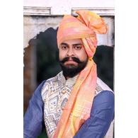 S H A H I T A J Traditional Rajasthani Wedding Barati Chanderi Silk Printed Peach Foil Jodhpuri Pagdi Safa or Turban for Kids and Adults (CT669)