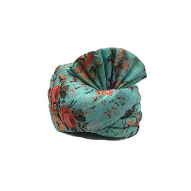 S H A H I T A J Traditional Rajasthani Wedding Barati Floral Sea Green Silk Pagdi Safa or Turban for Kids and Adults (RT673)-ST2_23andHalf