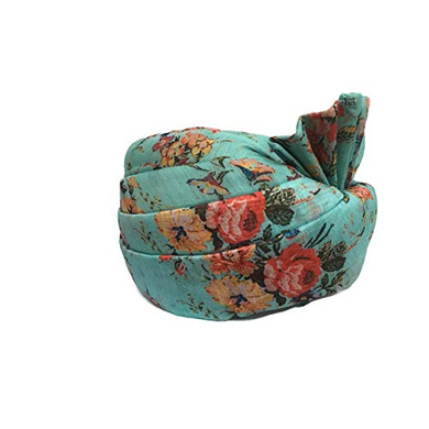 S H A H I T A J Traditional Rajasthani Wedding Barati Floral Sea Green Silk Pagdi Safa or Turban for Kids and Adults (RT673)-18-3