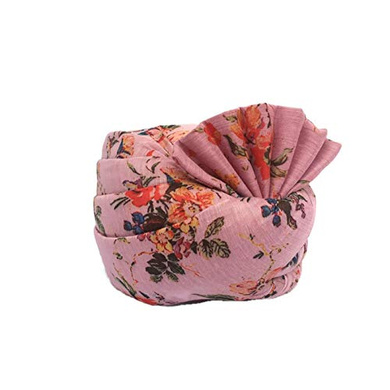 S H A H I T A J Traditional Rajasthani Wedding Barati Floral Pink Silk Pagdi Safa or Turban for Kids and Adults (RT674)-ST6_18andHalf