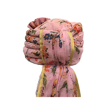 S H A H I T A J Traditional Rajasthani Wedding Barati Floral Pink Silk Pagdi Safa or Turban for Kids and Adults (RT674)-18-4
