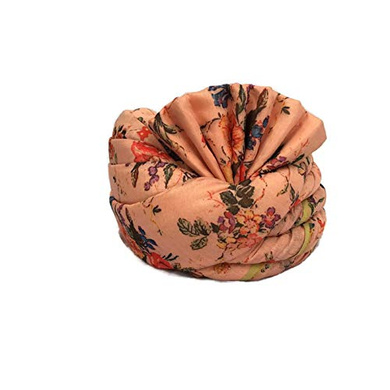 S H A H I T A J Traditional Rajasthani Wedding Barati Floral Peach Silk Pagdi Safa or Turban for Kids and Adults (RT675)-ST4_18andHalf