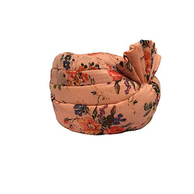 S H A H I T A J Traditional Rajasthani Wedding Barati Floral Peach Silk Pagdi Safa or Turban for Kids and Adults (RT675)-18-3