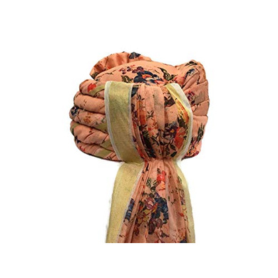 S H A H I T A J Traditional Rajasthani Wedding Barati Floral Peach Silk Pagdi Safa or Turban for Kids and Adults (RT675)-18-4