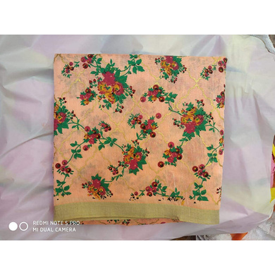 S H A H I T A J Traditional Rajasthani Peach Floral Barati/Groom/Social Occasions Faux Silk Pagdi Safa Turban or Pheta Cloth for Kids and Adults (CT678)-ST798