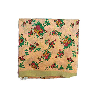 S H A H I T A J Traditional Rajasthani Peach Floral Barati/Groom/Social Occasions Faux Silk Pagdi Safa Turban or Pheta Cloth for Kids and Adults (CT678)-Free Size-1