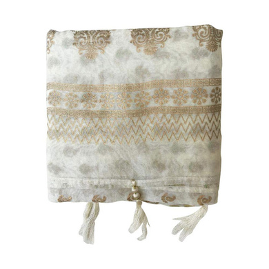 S H A H I T A J Traditional Rajasthani White with Golden Foil Barati/Groom/Social Occasions Silk Pagdi Safa Turban or Pheta Cloth for Kids and Adults (CT679)-ST799
