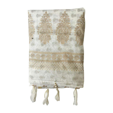 S H A H I T A J Traditional Rajasthani White with Golden Foil Barati/Groom/Social Occasions Silk Pagdi Safa Turban or Pheta Cloth for Kids and Adults (CT679)-Free Size-1