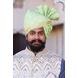 S H A H I T A J Traditional Rajasthani Wedding Barati Chanderi Silk Printed Mint Green Foil Udaipuri Pagdi Safa or Turban for Kids and Adults (CT234)-ST314_18-sm