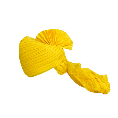 S H A H I T A J Traditional Rajasthani Jodhpuri Cotton Farewell/Retirement/Social Occasions Yellow Straight Line Pagdi Safa or Turban for Kids and Adults (CT688)-ST808_23andHalf