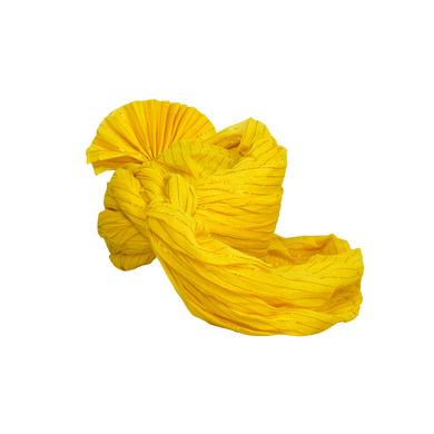 S H A H I T A J Traditional Rajasthani Jodhpuri Cotton Farewell/Retirement/Social Occasions Yellow Straight Line Pagdi Safa or Turban for Kids and Adults (CT688)-18-4