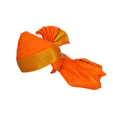 S H A H I T A J Traditional Rajasthani Jodhpuri Cotton Farewell/Retirement/Social Occasions Orange Kotadoriya Pagdi Safa or Turban for Kids and Adults (CT691)-ST811_22andHalf