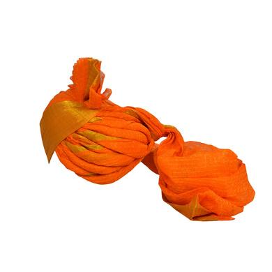 S H A H I T A J Traditional Rajasthani Jodhpuri Cotton Farewell/Retirement/Social Occasions Orange Kotadoriya Pagdi Safa or Turban for Kids and Adults (CT691)-18-3