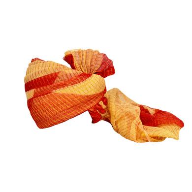 S H A H I T A J Traditional Rajasthani Jodhpuri Cotton Farewell/Retirement/Social Occasions Red & Cream Kotadoriya Pagdi Safa or Turban for Kids and Adults (CT693)-ST813_18andHalf