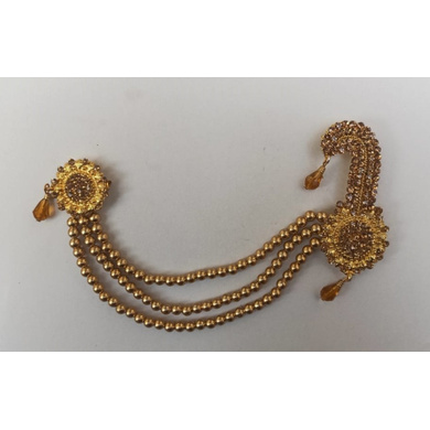 S H A H I T A J Traditional Rajasthani Golden Double Brooch for Barati/Groom/Social Occasions Pagdi Safa or Turban (OS694)-ST814