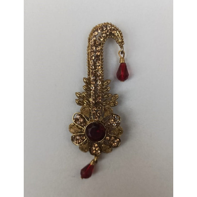 S H A H I T A J Traditional Rajasthani Golden with Red Stone Brooch for Barati/Groom/Social Occasions Pagdi Safa or Turban (OS698)-ST818