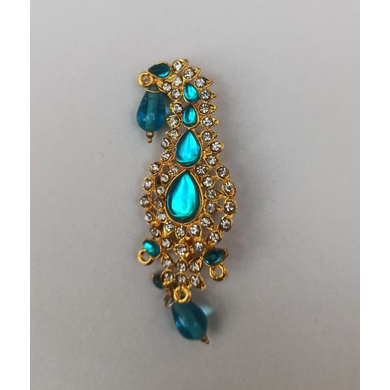 S H A H I T A J Traditional Rajasthani Golden with Blue Stone Brooch for Barati/Groom/Social Occasions Pagdi Safa or Turban (OS700)-ST820