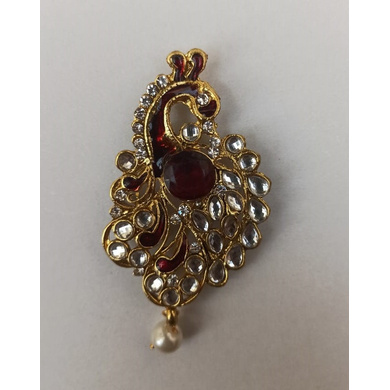 S H A H I T A J Traditional Rajasthani Golden with Red Stone Peacock Brooch for Barati/Groom/Social Occasions Pagdi Safa or Turban (OS702)-ST822