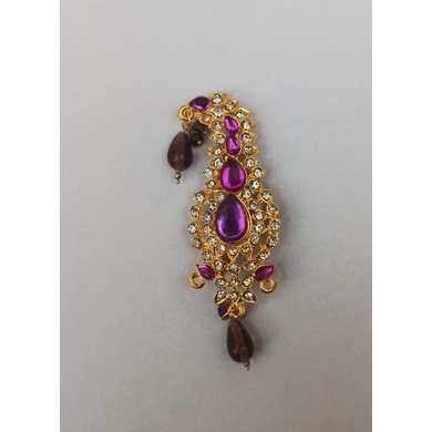 S H A H I T A J Traditional Rajasthani Golden with Purple Stone Brooch for Barati/Groom/Social Occasions Pagdi Safa or Turban (OS705)-ST825
