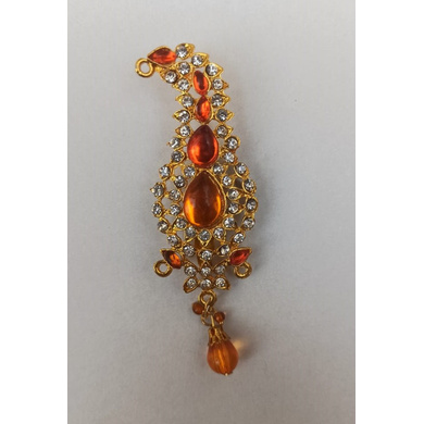 S H A H I T A J Traditional Rajasthani Golden with Orange Stone Brooch for Barati/Groom/Social Occasions Pagdi Safa or Turban (OS706)-ST826