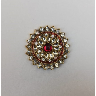 S H A H I T A J Traditional Rajasthani Golden with Red Stone Center Brooch for Barati/Groom/Social Occasions Pagdi Safa or Turban (OS708)-ST828