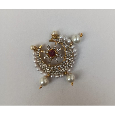 S H A H I T A J Traditional Rajasthani Golden with Red Stone Small Chandrma for Barati/Groom/Social Occasions Pagdi Safa or Turban (OS709)-ST829
