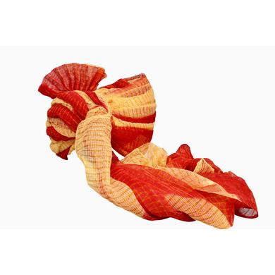 S H A H I T A J Traditional Rajasthani Jodhpuri Cotton Farewell/Retirement/Social Occasions Red & Cream Kotadoriya Pagdi Safa or Turban for Kids and Adults (CT693)-18-4