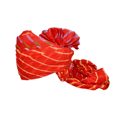 S H A H I T A J Traditional Rajasthani Jodhpuri Cotton Farewell/Retirement/Social Occasions Red Lehariya Pagdi Safa or Turban for Kids and Adults (CT710)-ST830_21andHalf