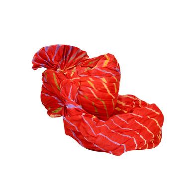 S H A H I T A J Traditional Rajasthani Jodhpuri Cotton Farewell/Retirement/Social Occasions Red Lehariya Pagdi Safa or Turban for Kids and Adults (CT710)-18-4