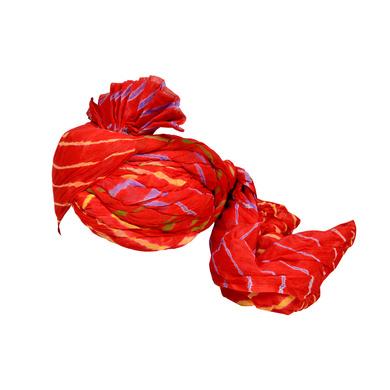 S H A H I T A J Traditional Rajasthani Jodhpuri Cotton Farewell/Retirement/Social Occasions Red Lehariya Pagdi Safa or Turban for Kids and Adults (CT710)-18-3