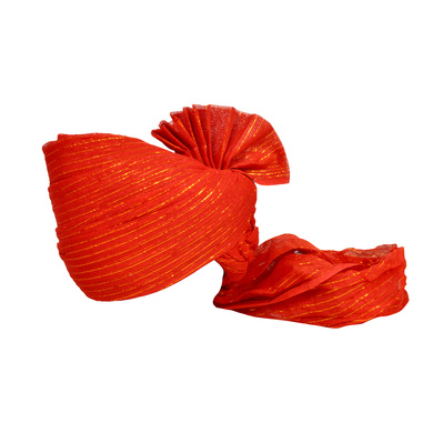 S H A H I T A J Traditional Rajasthani Jodhpuri Cotton Farewell/Retirement/Social Occasions Red Straight Line Pagdi Safa or Turban for Kids and Adults (CT711)-ST831_18andHalf