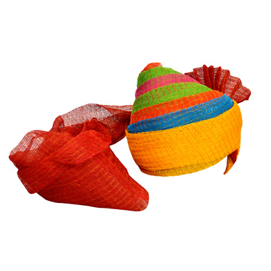 S H A H I T A J Traditional Rajasthani Jodhpuri Cotton Farewell/Retirement/Social Occasions Multi-Colored Kotadoriya Pagdi Safa or Turban for Kids and Adults (CT712)-ST832_19andHalf