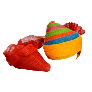 S H A H I T A J Traditional Rajasthani Jodhpuri Cotton Farewell/Retirement/Social Occasions Multi-Colored Kotadoriya Pagdi Safa or Turban for Kids and Adults (CT712)-ST832_21andHalf