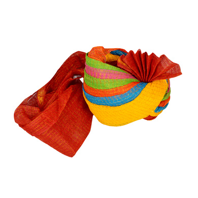 S H A H I T A J Traditional Rajasthani Jodhpuri Cotton Farewell/Retirement/Social Occasions Multi-Colored Kotadoriya Pagdi Safa or Turban for Kids and Adults (CT712)-18-3