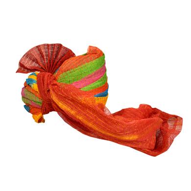 S H A H I T A J Traditional Rajasthani Jodhpuri Cotton Farewell/Retirement/Social Occasions Multi-Colored Kotadoriya Pagdi Safa or Turban for Kids and Adults (CT712)-18-4