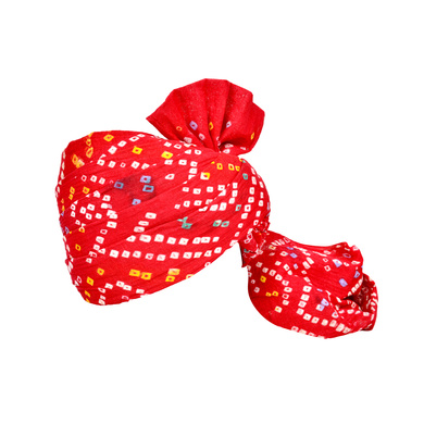 S H A H I T A J Traditional Rajasthani Jodhpuri Cotton Farewell/Retirement/Social Occasions Red Bandhej Pagdi Safa or Turban for Kids and Adults (CT714)-ST834_19andHalf