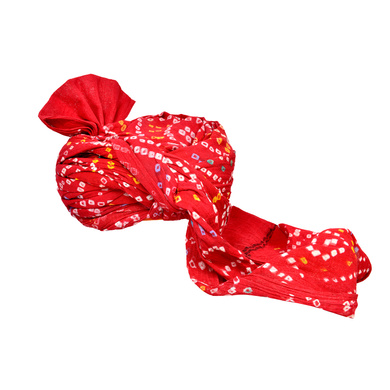 S H A H I T A J Traditional Rajasthani Jodhpuri Cotton Farewell/Retirement/Social Occasions Red Bandhej Pagdi Safa or Turban for Kids and Adults (CT714)-18-4