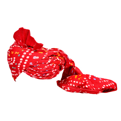 S H A H I T A J Traditional Rajasthani Jodhpuri Cotton Farewell/Retirement/Social Occasions Red Bandhej Pagdi Safa or Turban for Kids and Adults (CT714)-18-3