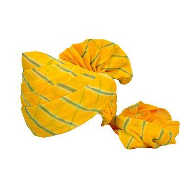 S H A H I T A J Traditional Rajasthani Jodhpuri Cotton Farewell/Retirement/Social Occasions Yellow Lehariya Pagdi Safa or Turban for Kids and Adults (CT716)-ST836_18andHalf