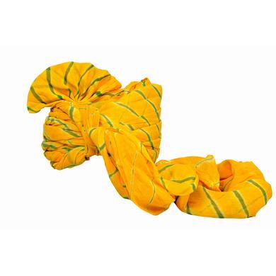 S H A H I T A J Traditional Rajasthani Jodhpuri Cotton Farewell/Retirement/Social Occasions Yellow Lehariya Pagdi Safa or Turban for Kids and Adults (CT716)-18-4