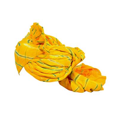 S H A H I T A J Traditional Rajasthani Jodhpuri Cotton Farewell/Retirement/Social Occasions Yellow Lehariya Pagdi Safa or Turban for Kids and Adults (CT716)-18-3