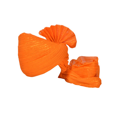 S H A H I T A J Traditional Rajasthani Jodhpuri Cotton Farewell/Retirement/Social Occasions Orange Straight Line Pagdi Safa or Turban for Kids and Adults (CT717)-ST837_21andHalf