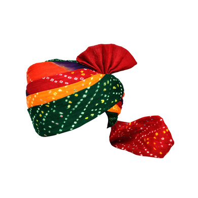 S H A H I T A J Traditional Rajasthani Jodhpuri Cotton Farewell/Retirement/Social Occasions Multi-Colored Bandhej Pagdi Safa or Turban for Kids and Adults (CT718)-ST838_22