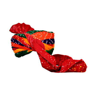 S H A H I T A J Traditional Rajasthani Jodhpuri Cotton Farewell/Retirement/Social Occasions Multi-Colored Bandhej Pagdi Safa or Turban for Kids and Adults (CT718)-18-4